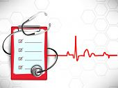 stock photo of cardiology  - Medical background with stethoscope and doctors prescription pad on heartbeat symbol background - JPG
