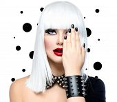 Fashion Beauty Model Girl. Punk Style Woman isolated on White Background. White Hair, Black Nails an