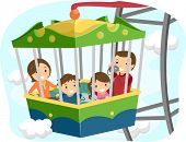 Illustration of a Stickman Family Inside the Passenger Car of a Ferris Wheel