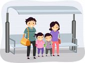 stock photo of stickman  - Illustration of a Stickman Family Waiting at a Bus Stop - JPG