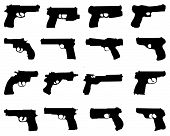 stock photo of gun shot  - Set of black silhouettes of guns - JPG