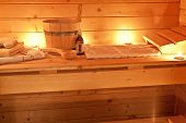 picture of sauna  - interior of a sauna and sauna accessories - JPG