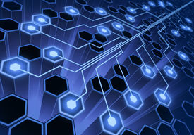 foto of computer technology  - Electronic circuit over the abstract hexagonal form - JPG