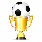 picture of trophy  - Soccer Poster with Soccer Ball and Gold Trophy vector isolated on white background - JPG