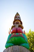stock photo of totem pole  - Detail of Knowledge Totem in Victoria B - JPG