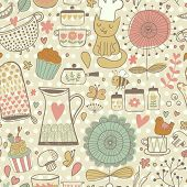 picture of saucepan  - Funny childish seamless pattern with bee - JPG