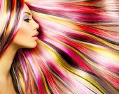 image of hair dye  - Beauty Fashion Model Girl with Colorful Dyed Hair - JPG