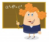 stock photo of pythagoras  - School teacher showing with her pointer on blackboard with Pythagorean theorem - JPG