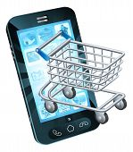 stock photo of trolley  - Shopping cart cell phone concept of a mobile phone with a shopping trolley coming out - JPG