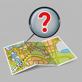 Map booklet  with question mark