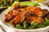 stock photo of chicken wings  - Barbecue Buffalo Chicken Wings as an Appetizer - JPG