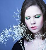 stock photo of cold-shoulder  - Young woman with winter twig - JPG