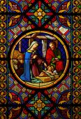 picture of stained glass  - Christmas Cathedral stained glass window Jesus Maria Josef