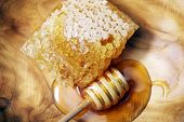 image of honey bee hive  - Honeycomb and Dipper - JPG
