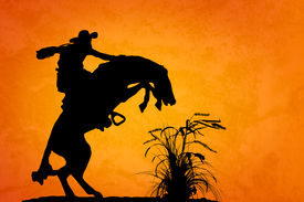 pic of wrangler  - Silhouette of cowboy reigning bucking bronco spooked by something in the nearby sagebrush - JPG