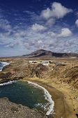 picture of papagayo  - A birdseye view of the Papagayo beach on the south coast of Lanzarote in the Canary islands - JPG
