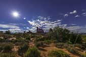 picture of turret arch  - Beautiful full moon rise over Turret Arch Arches National Park Utah - JPG