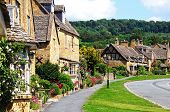 image of broadway  - Pretty cottages along High Street Broadway Cotswolds Worcestershire England UK Western Europe - JPG