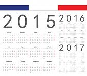 Постер, плакат: Set Of French 2015 2016 2017 Year Vector Calendars