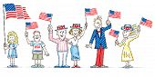 image of frazzled  - Cartoon Characters waving USA flags for patriotic holiday celebration - JPG