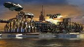 image of fiction  - Science fiction city with metallic ring structures on water and hoovering aircrafts in sunset for futuristic or fantasy backgrounds - JPG