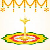 image of pookolam  - easy to edit vector illustration of Happy Onam background - JPG