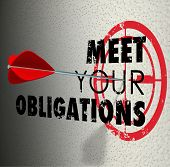 foto of mandate  - Meet Your Obligations words on a wall and arrow hitting target bulls - JPG