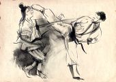 stock photo of karate  - An hand drawn illustration in calligraphic style from series Martial Arts - JPG