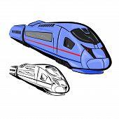 image of high-speed train  - Vector illustration  - JPG