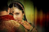 stock photo of indian wedding  - An Indian couple dressed up in traditional indian clothing - JPG