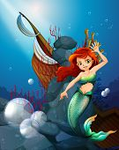 picture of wrecking  - Illustration of a sea with a mermaid near the wrecked boat - JPG