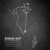 stock photo of bahrain  - Bahrain map blackboard chalkboard vector dark template - JPG