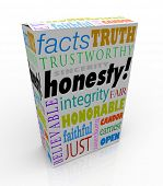 stock photo of trustworthiness  - Honesty and related virtues on a product box or package for instant reputation building - JPG
