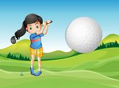 stock photo of ladies golf  - Illustration of a young lady playing golf - JPG