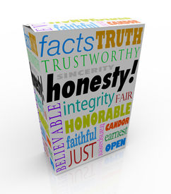 foto of trustworthiness  - Honesty and related virtues on a product box or package for instant reputation building - JPG