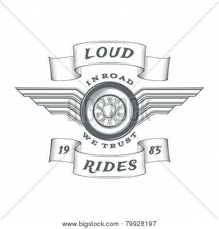Vintage heraldic motorcycle label