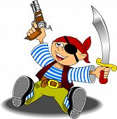 stock photo of saber-toothed  - little boy dressed as a pirate with a saber and a pistol - JPG