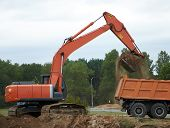 foto of boom-truck  - The Wheel loader Excavator Loading Dumper Truck - JPG