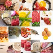 foto of high calorie foods  - high protein food collection collage nested on white frame - JPG