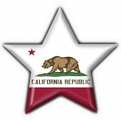 California (usa State) Button Flag Star Shape