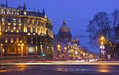 image of winter palace  - panorama of St. Petersburg, winter city, the Palace square, the dawn in St. Petersburg