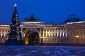 stock photo of winter palace  - panorama of St. Petersburg, winter city, the Palace square, the dawn in St. Petersburg, Christmas tree