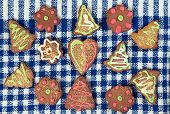 picture of pecan tree  - Various homemade gingerbread on tablecloth ready to eat - JPG