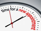 image of count down  - An image with a clock and the message time for a new appointment - JPG