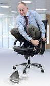image of adversity humor  - Concept of the competition circling a businessman scared on an office chair - JPG