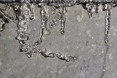 foto of ice crystal  - the melting ice in the sun on a metal surface  - JPG