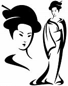 picture of geisha  - geisha black and white vector illustration  - JPG