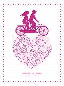 stock photo of tandem bicycle  - Vector pink flowers lineart couple on tandem bicycle heart silhouette frame pattern greeting card template graphic design - JPG