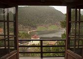 stock photo of gazebo  - window view forest balcony gazebo terrace door - JPG