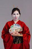 picture of geisha  - The girl in native costume of japanese geisha - JPG